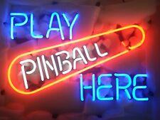 "Play Pinball Here Neon Light Sign 24""x20"" Beer Bar Decor Lamp Glass"