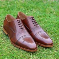 Dress Shoes Men Oxford Goodyear Welt Brogue Brown Hand made Calf Leather Shoe