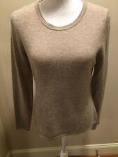 Adrienne Vittadini M 100% 2-Ply Cashmere Taupe Crew Neck Sweater Top 4 ROWAN