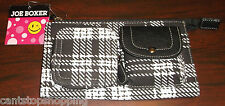 JOE BOXER Black & White Plaid Wristlet Bag Wallet Clutch Purse NEW Coin Pouch