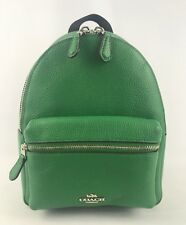 Coach Women's Leather Mini Charlie Backpack Bag Purse Jade Green F38263  NWT