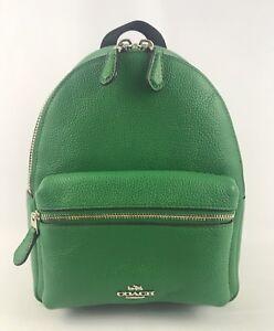 Coach Women's Leather Mini Charlie Backpack Bag Purse Jade Green F38263  NWT