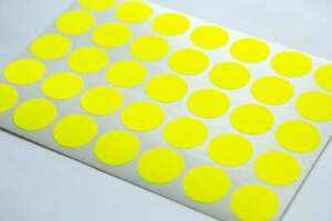 Yellow  Round Sticky Labels 37mm Price Stickers Tags Blank Self Adhesive