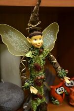 Long Slim Forest Fairy Elf Cute Boy Doll 12'' Decoration Brown Green Long Hat
