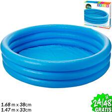 PISCINA HINCHABLE 3 AROS 1,68 m  x 38 cm Azul INTEX Original Jardin Patio Pool