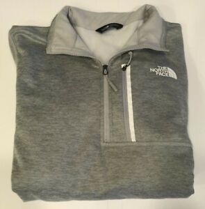 Mens North Face Quarter Zip Jacket Heather Gray Size Medium Pullover Sweater