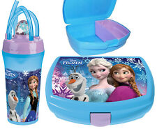 Disney Frozen Gift Set 2 Pieces Kids Sandwich Lunch Box Snack and Bottle New