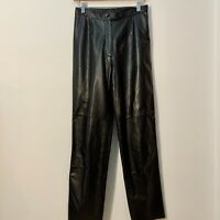 Vintage 80's Classic Black Leather Lined Pants Size 4