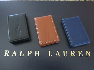Polo RALPH LAUREN Magnetic Money Clip in Black or Tan Leather