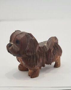 Vintage Miniature Carved Wood Pekingese Dog Folk Art