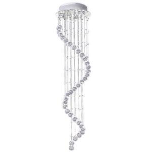HOMCOM Modern Crystal Droplet Ceiling Light Spiral Cascading Chandelier Lamp