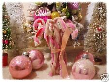 Primitive Chenille Candy Canes Handmade Pink Red & White Set of 8 Ornaments