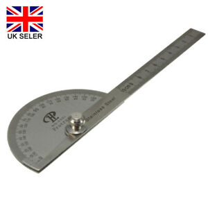 Stainless Steel Angle Ruler 180° 360° Protractor Round Finder Arm Measuring Tool
