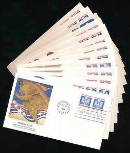 LOT US OFFICIAL STAMP 14 DIFFERENT FLEETWOOD FDC's ALL EAGLE OR ALLEGORY CACHET