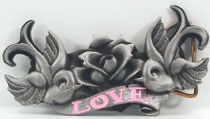 Love Buckle With Swallows & One Rose, Belt Buckle