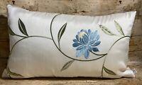 51cm x 30cm Blue, Sage & Cream Embroidered Flower Handmade Cushion Cover EOKsews