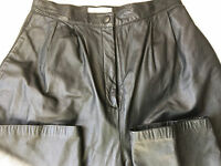 Lord & Taylor Womens Pants 6 Soft Cow Nappa Leather Black Pleated Front Lined