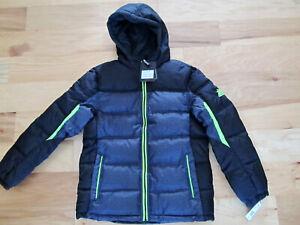 NEW Zeroxposur Puffer Hooded Winter Jacket SIZE BOYS Large 14-16 Black-Gray-Neon