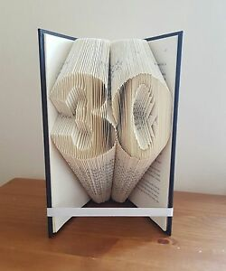 30 40 50 60 NUMBER FOLDED BOOK ART BIRTHDAY SPECIAL ANNIVERSAY any two numbers