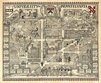 Pictorial Map University of Pennsylvania Campus Wall Poster Vintage U of Penn