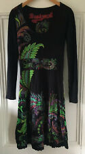 Desigual Women's Black Multi Paisley Floral Long-Sleeve Midi Dress XS UK 8 EU 36