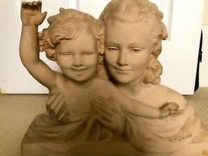 terracotta sculpture mother and child By Italian Sculptor Ugo Cipriani