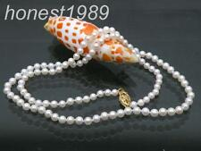 """AAA+++ 3.5mm perfect round white south sea pearls necklace 14k solid gold 19"""""""