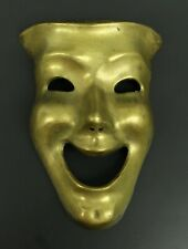 Vintage Solid Brass Comedy Theater Drama Mask Face Wall Hanging Decor Decoration