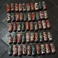 50pcs Antique Magic Old Tibetan Agate *Multiple Totem* Cinnabar Dzi Beads B0802