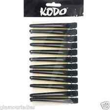 12x KODO Black Crocodile Plastic Metal Hair Sectioning Clips Clamps Salon Grips