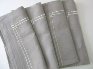 "EMBROIDERED SILVER METALLIC DESIGN 20"" LINEN NAPKINS ~ SET of 4 ~ New"