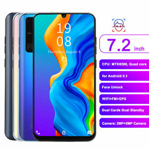 7.2in for Waterdrop Screen Dual Cards Dual Standby Smartphone 1+16GB Face Unlock