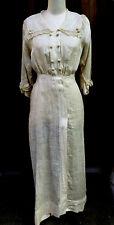 Vintage Antique Edwardian Lace Linen Tea Gown Dress Size Small Zeman made rare!!