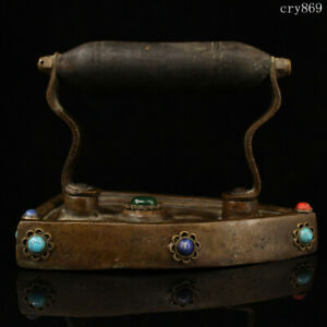 "6""collection old antique Tibet Pure copper Inlaid with gems old-fashioned Iron"