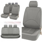 9pcs Set Gray Leather Car Seat Cover Front Rear Interior High Quality Breathable