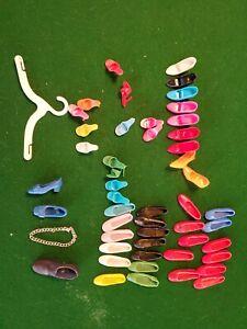 Vtg 1960's Barbie Shoes Lot Sandals Black Red White Flats Heels Clone 70's rare