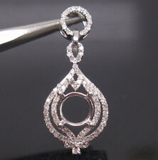 0.40ct Round Cut 6.5mm Solid 18Kt White Gold Natural Diamond Semi Mount Pendant