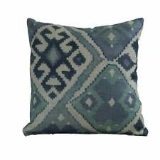 "100% Linen Printed Kilim Ikat Cushion. Double Sided. 17x17"". Indigo Denim Blue."