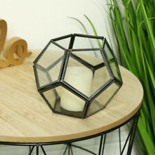 Geometric brushed black metal tealight candle holder retro industrial home gift