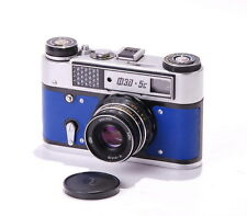 FED 5C Blue Leather USSR LEICA LTM Camera w INDUSTAR 61 L/D CLA EXC