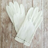 Vintage Gloves Size 6 1/2 White Double Cotton Wrist 60's Woman's Decorated Cuff