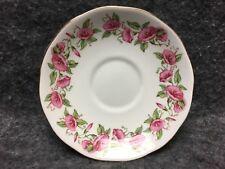 "Salisbury England Bone China "" Woodbine "" 5.5"" Saucer Pink & Green Floral Design"