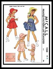 McCall 1250 Sew Pattern Romper Sunsuit Playsuit DRESS GIRL TODDLER Skirt Hat ~2~