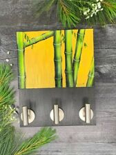 Painting Acrylic Key Holder With 3 Hooks Handicraft Home Wall Decor Bamboo Paint
