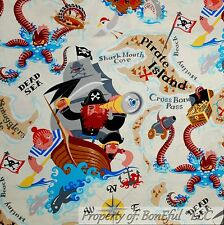 BonEful Fabric FQ Cotton Quilt PIRATE Ship Boat Beach Boy Map Flag Shark Octopus