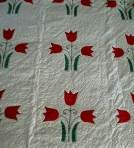 "VTG/Antique Red Applique Quilt 78"" X 64"" Hand Sewn & Quilted Dated 1932!"
