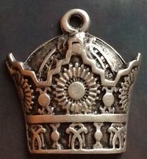 LOT 3-MIDDLE EAST,RARE BEAUTIFUL WHITE METAL IMPERIAL CROWN PENDANT.