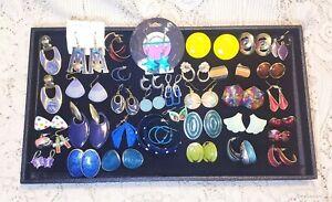36 Piece Mixed Colorful Enamel Mixed Style Pierced Earring Lot - Laurel Burch