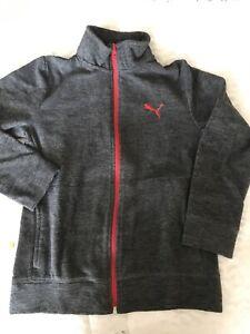Boys L 12/14 Puma Fleece Zip Up Sweatshirt Jacket With Mock Collar #453