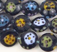 "15mm Lampwork Handmade Glass Beads Colorful ""Total Circle"" Lentil (8)"